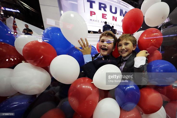 Kids play with balloons at the end of the fourth day of the Republican National Convention on July 21, 2016 at the Quicken Loans Arena in Cleveland, Ohio. Republican presidential candidate Donald Trump received the number of votes needed to secure the party's nomination. An estimated 50,000 people are expected in Cleveland, including hundreds of protesters and members of the media. The four-day Republican National Convention kicked off on July 18.