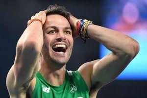 В Ирландии Томас Барр реагирует после квалификации на 400м финал.