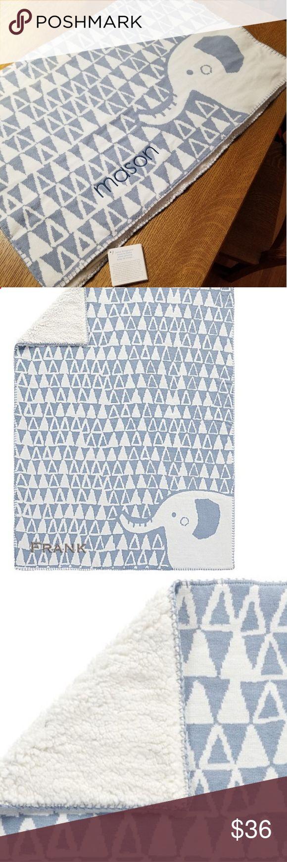 Pottery Barn Elephant Knit Sherpa baby blanket NWT