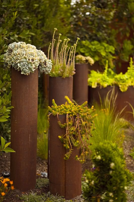 steel pipe as planters, upcycle