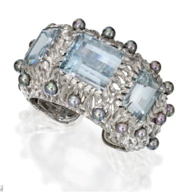 18 Karat White Gold, Aquamarine and Cultured Pearl Cuff Bracelet, Tony Duquette
