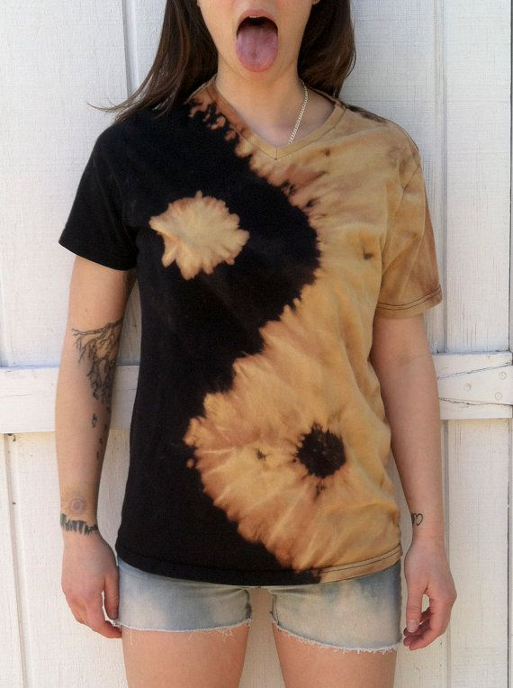 Yin yang tie dye unisex tee reverse dye made to order for Bleach and tone shirt