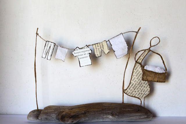 Jour de lessive : linge qui sèche en découpes de papier et portique en fil de kraft armé et ficelle - création Epistyle - (autre modèle ici : http://epistyle.blogspot.fr/2014/06/en-attendant-les-vacances.html + dans scrap Jardin)
