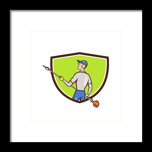 Gardener Hedge Trimmer Crest Cartoon Framed Print by Aloysius Patrimonio.  Cartoon style illustration of male gardener holding hedge trimmer looking to the side viewed from rear set inside shield crest on isolated background. #illustration #GardenerHedgeTrimmer