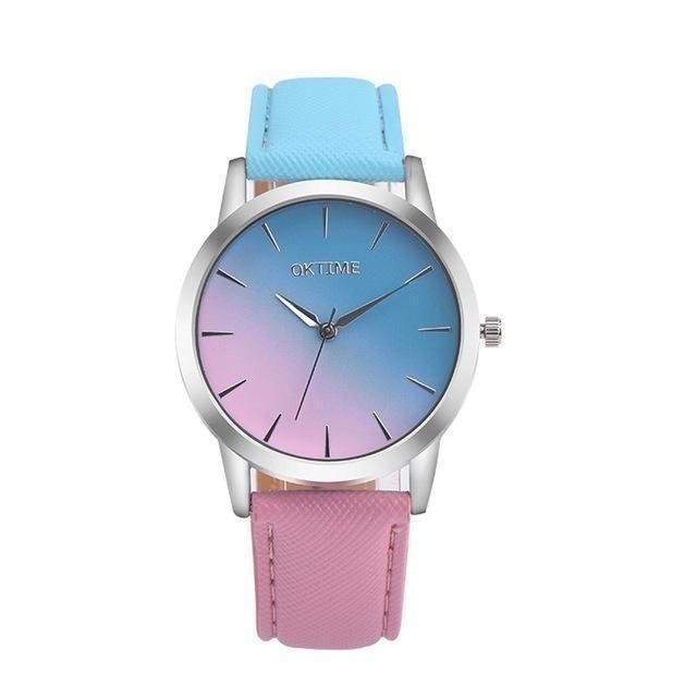 Montre Femme Quartz Watch Women Rainbow Design Leather Band Analog Alloy Quartz Wrist