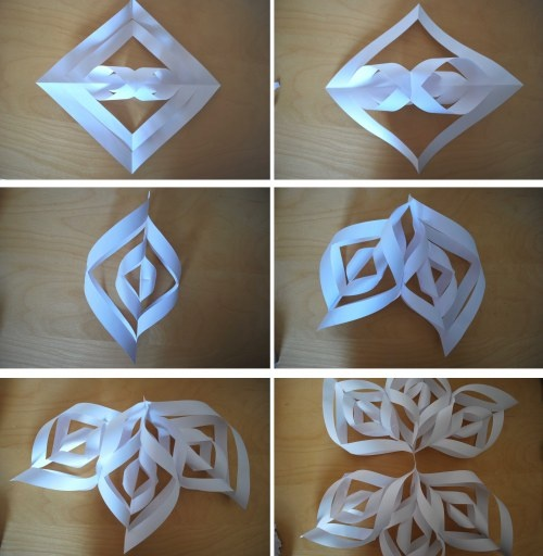 3D snowflake how to  (love these!  a teenager we know made one of these for us -- it was beautiful!)