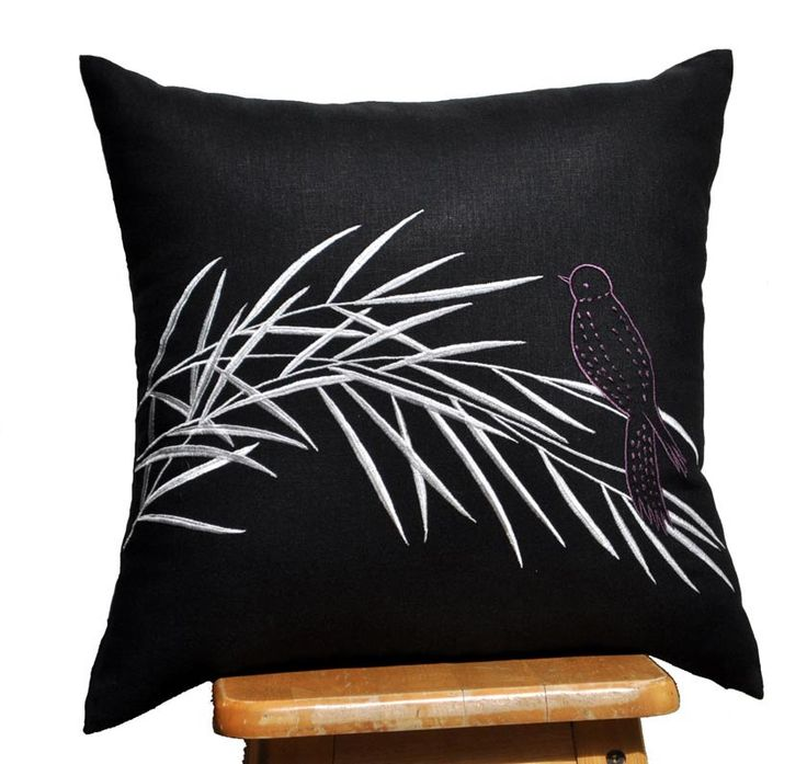 "Silver Bamboo Throw Pillow Cover - 18"" x 18"" Decorative Pillow Cover - Black Linen with Silver Bamboot Embroidery. $22.00, via Etsy."