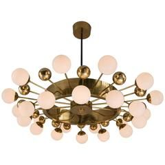 Extremely Large Chandelier in Brass and Opaline Glass