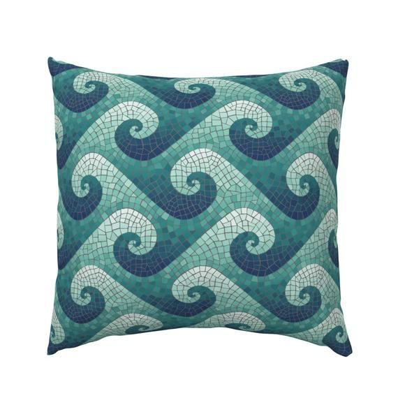 Mosaic Pillow Sham Wave Mosaic Navy