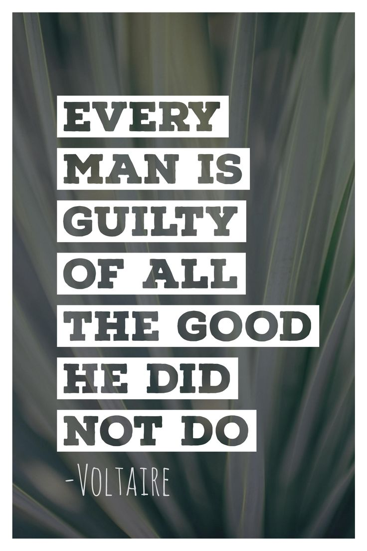 Every man is guilty of all the good he did not do. Voltaire quote.