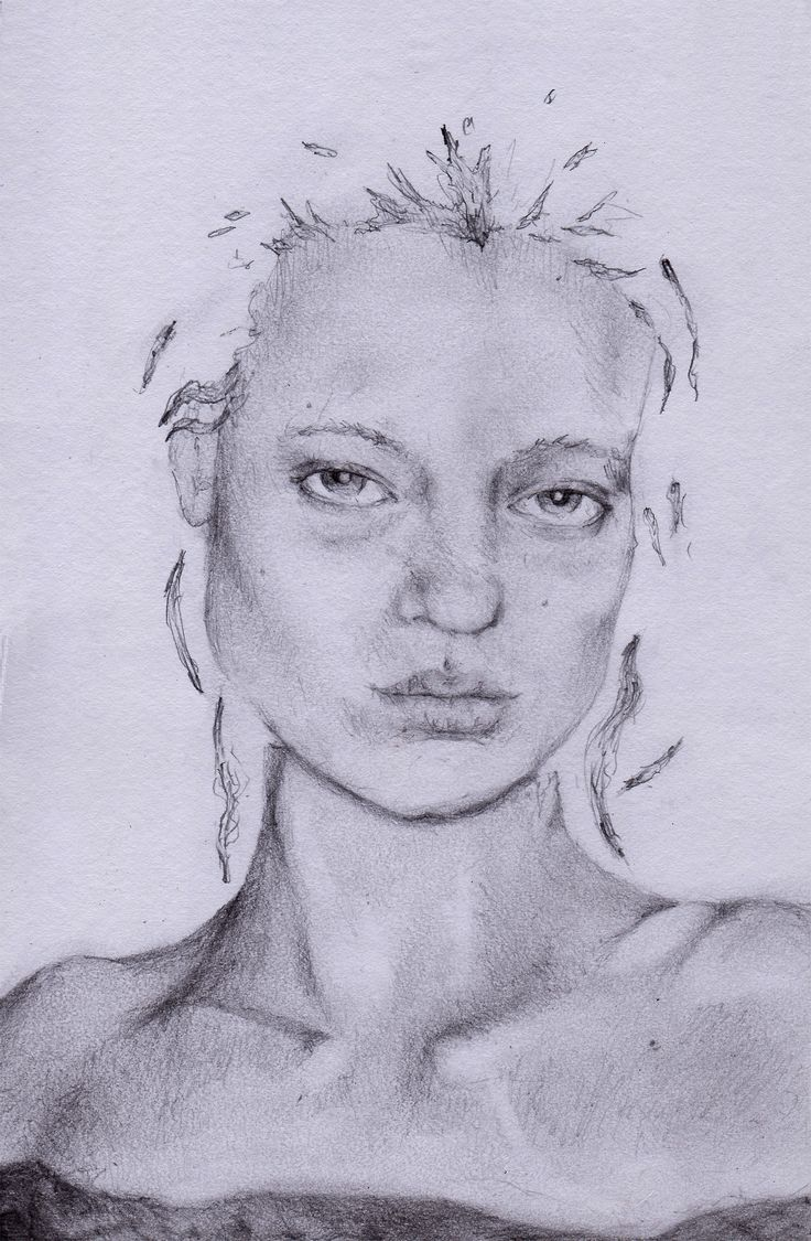Pencil drawing, woman's face, art by Claire Black