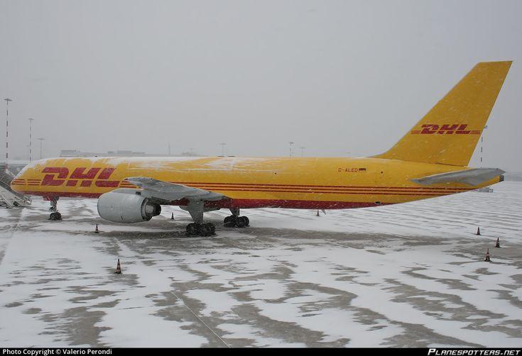 EAT Leipzig Boeing 757-236(SF) D-ALED (DHL) aircraft, parked at Italy Pisa-San Giusto ''Galileo Galilei'' International snowed Airport. 17/12/2010.