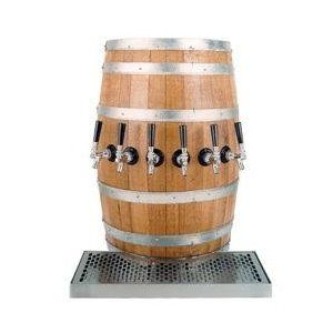 Wood Barrel Draft Beer Kegerator Tower with Matching Drain Tray: 3 Faucets