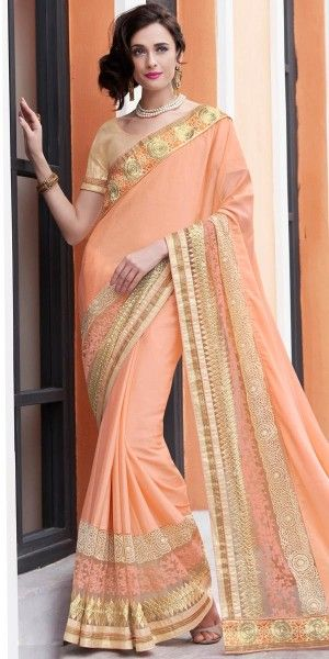 Bright Orange And Cream Chiffon Saree With Blouse.