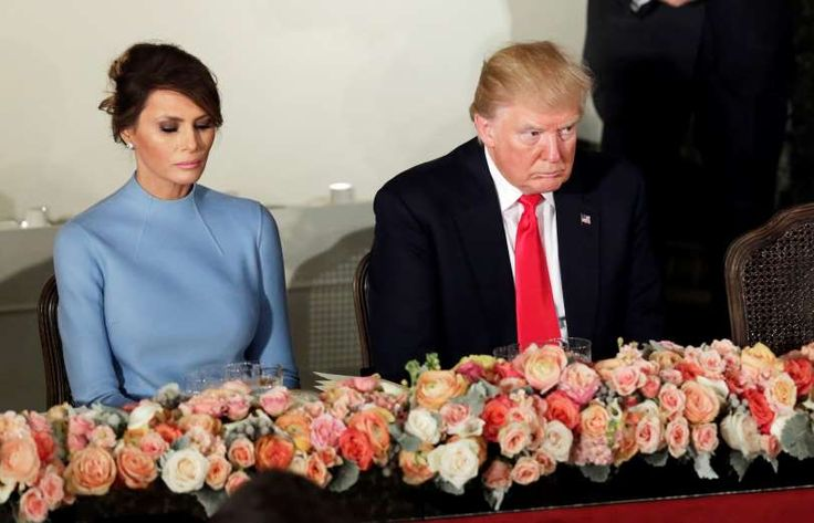 President Trump and first lady Melania attend the Inaugural luncheon at the National Statuary Hall. - REUTERS/Yuri Gripas