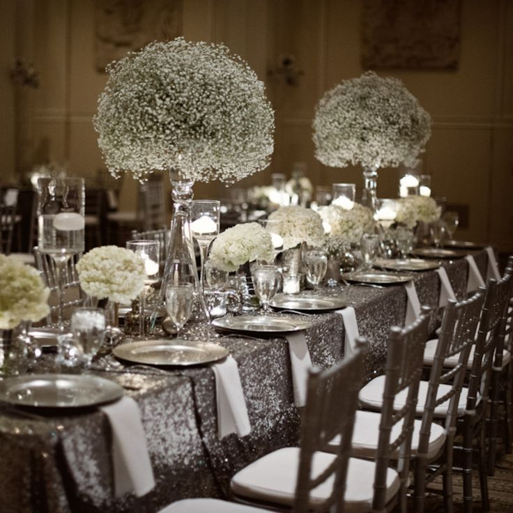 silver and white WEDDING PARTY | Stunning table of silver and white glam wedding with babies breath