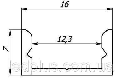 Алюминиевый профиль для светодиодной ленты ЛП7 + рассеиватель(матовый), фото 2