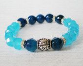 Items similar to bohemian stretch bracelet, blue agate gemstone stacking bracelet, live love laugh bracelet, healing bracelet, mala bracelet, yoga jewelry on Etsy