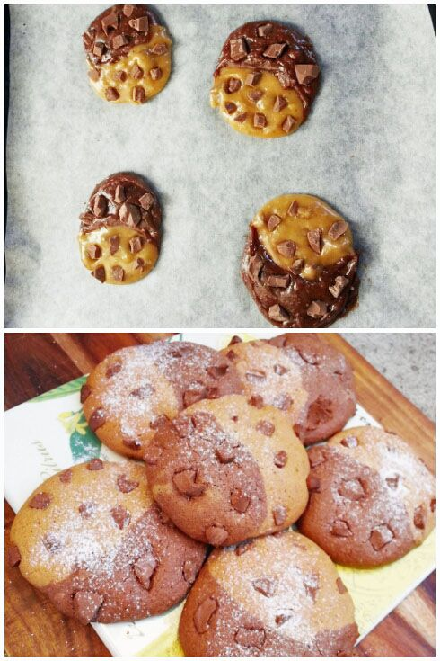 Chocolate Chunk Cookies. Before/After. | Dessert: Cookies,Cupcakes ...