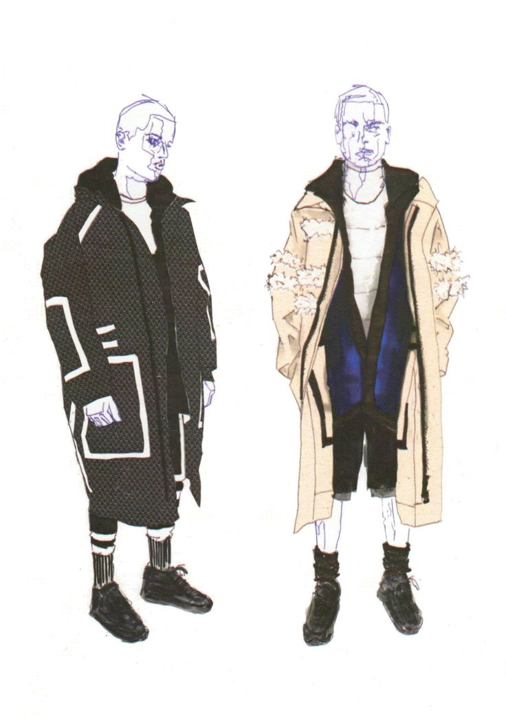 Illustrations from final year Westminster BA (Hons) Fashion Design students featuring their runway collections