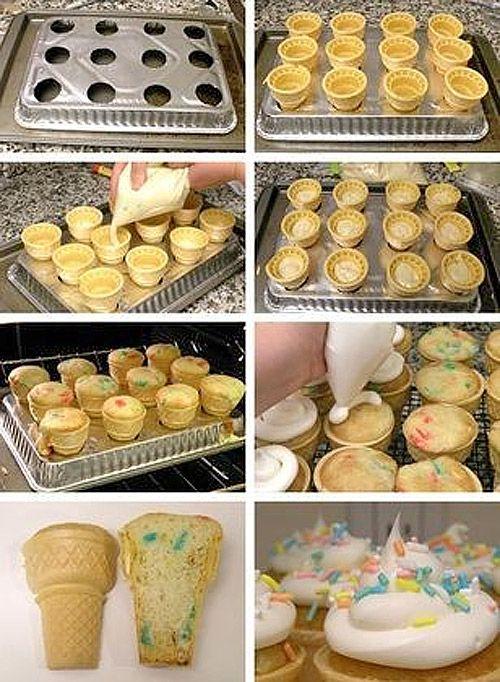 Cupcake na Casquinha de Sorvete ~ PANELATERAPIA - Blog de Culinária, Gastronomia e Receitas