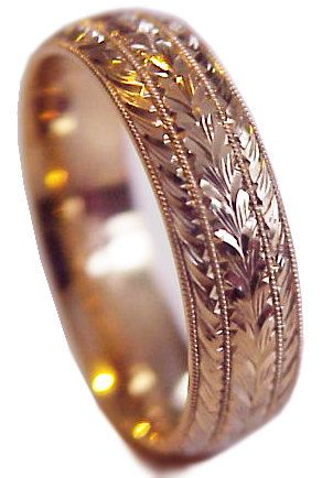 Hand Engraved Clic Leaf Wheat Pattern Men S 14 K Rose Gold 7 Mm Wide Wedding Band Ring Comfort Fit Size 8 And Up Made To Order In 2018 His