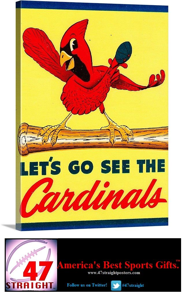 Vintage St. Louis Cardinals canvas art made from authentic 1950's Cardinal art.