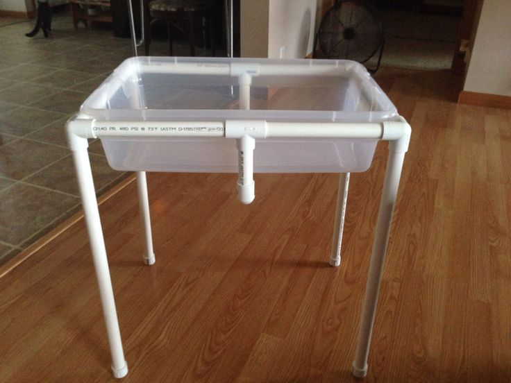 Adapted sand water or sensory table from pvc pipe less for Diy sand and water table pvc