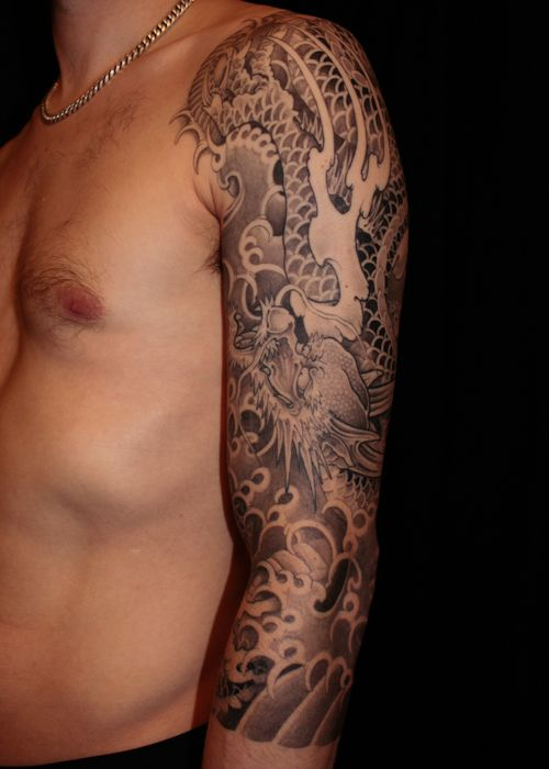 Japanese dragon, tattoo sleeve. Healed picture