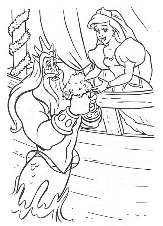 King Triton Giving Flowers To Ariel Coloring Pages | Ariel ...