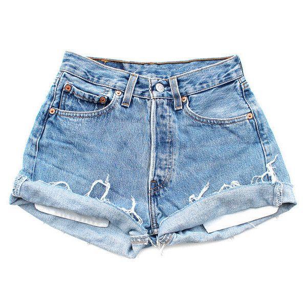 Original 501s (€78) ❤ liked on Polyvore featuring shorts, bottoms, denim, pants, high rise denim shorts, denim shorts, high-rise shorts, jean shorts and high-waisted shorts