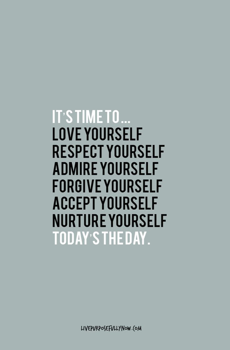 Instead of dwelling on the things you got wrong, or the things you think are wrong with you, try a different approach. Resolve to accept yourself just as you are, where you are.  It's time to love yourself, respect yourself, admire yourself, forgive yourself, accept yourself, nurture yourself…today's the day.  #happiness    Via http://livepurposefullynow.com/habits-of-happy-successful-people/