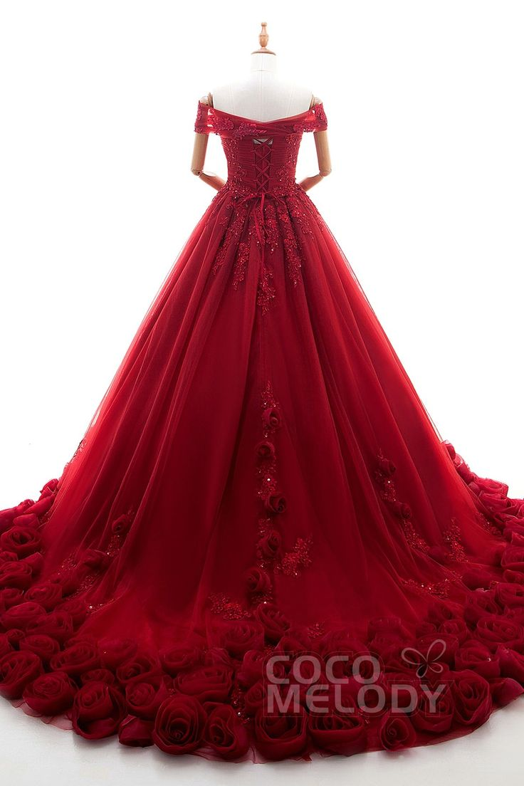 Fantastic Princess Off The Shoulder Natural Chapel Train Tulle and Lace Sleeveless Lace Up-Corset Weddding Dress with Appliques Beading and Flower LD4239 #weddingdresses #cocomelody #colordresses #ballgowndresses #reddresses