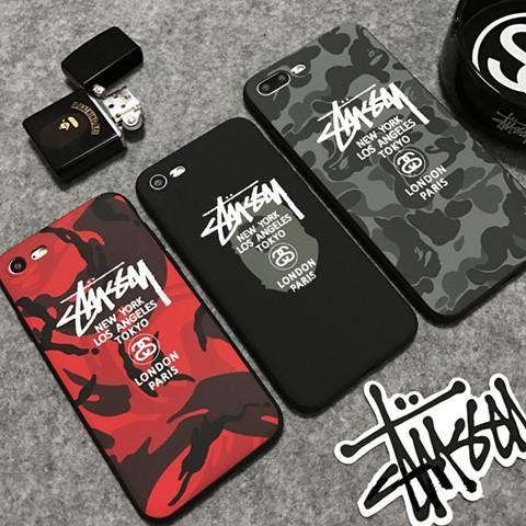 e11ab1820b Stussy アメリカ ステューシー ブランド iPhoneX ケース ストリート系 個性 iphone8 三色 カバー シリコン製  iphone7/7plus/6/6plus 迷彩
