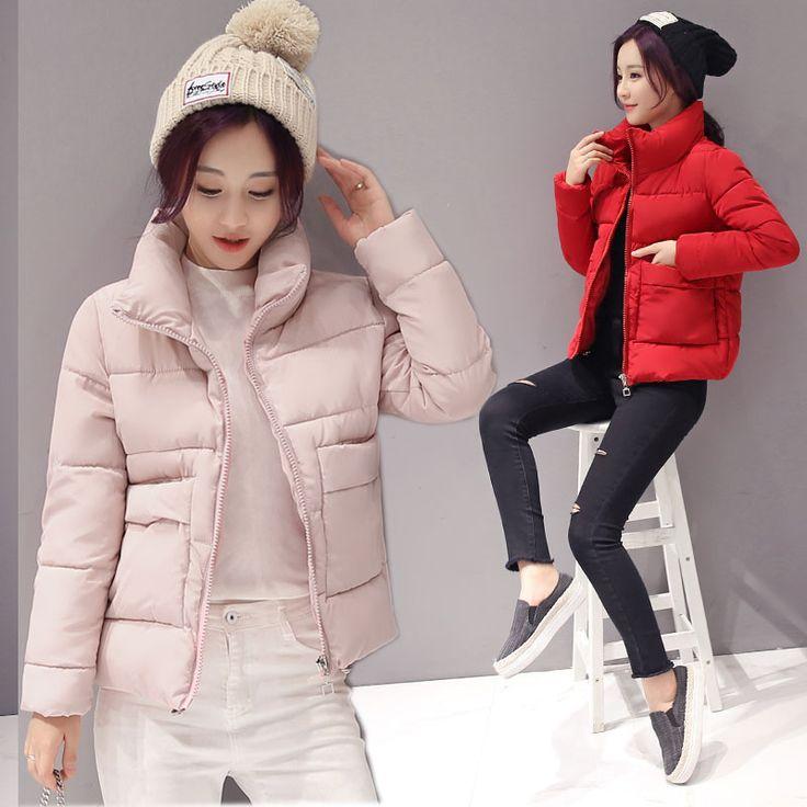 Good cute padded cotton coat woman winter 2017 turtleneck stand collar pocket down jacket short parka femme kawaii warm hot sale #Affiliate