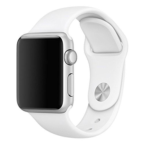 Been5le 38MM Soft Silicone Sport Replacement Wristband for Apple Watch Series 3 Series 2 Series 1 Sport & Edition M/L Size (White)