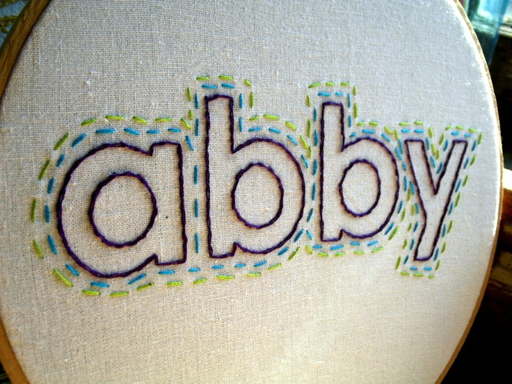 Hand embroidered name decorative hoop art custom