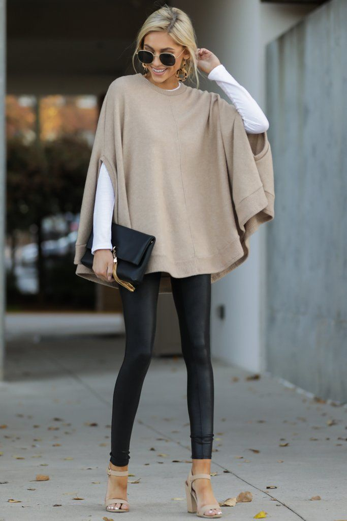 Make Your Mark Tan Poncho Top (BACKORDER PENDING) Trendy Beige Poncho Top – Soft Flowy Oversized Shirt – Poncho – $39.00 – Red Dress Boutique