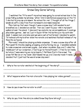 reading comprehension passages winter themed common core. Black Bedroom Furniture Sets. Home Design Ideas