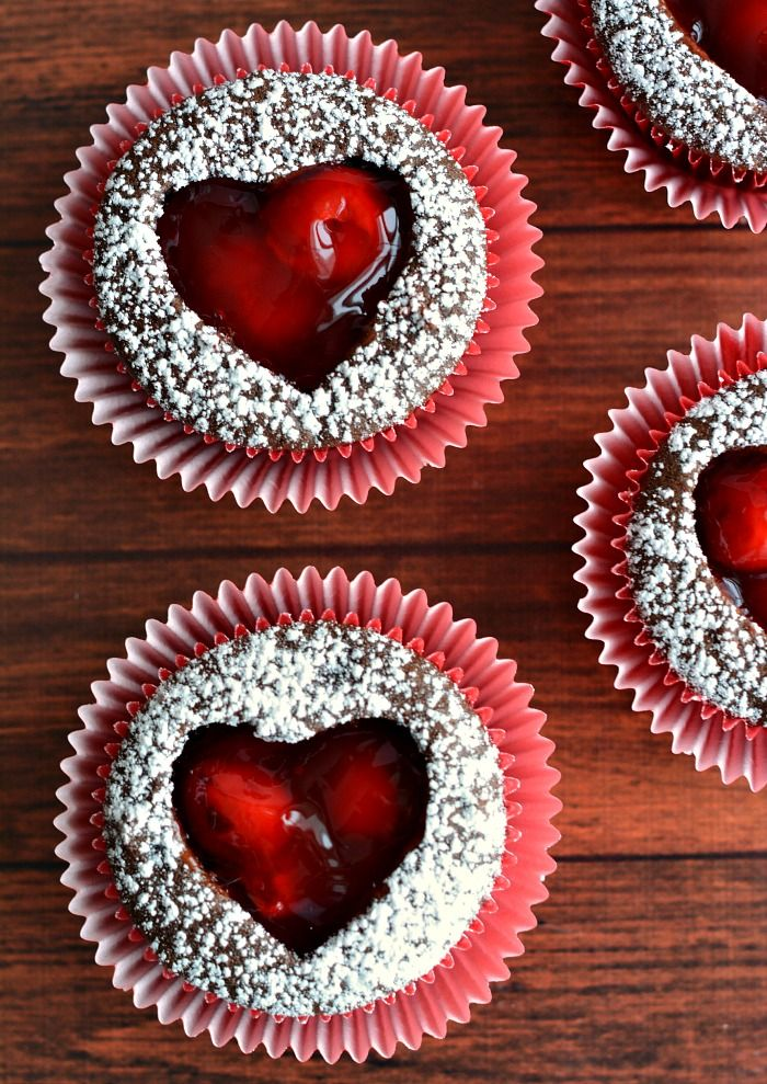Cherry Heart Cutout Cupcakes for Valentine's Day {foodfamilyfinds}