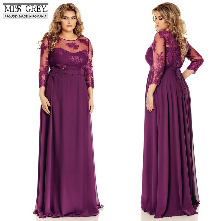 With its noble purple shade and its manually embroidered lace, this outfit can be easily crowned as the queen of elegant plus size dresses.