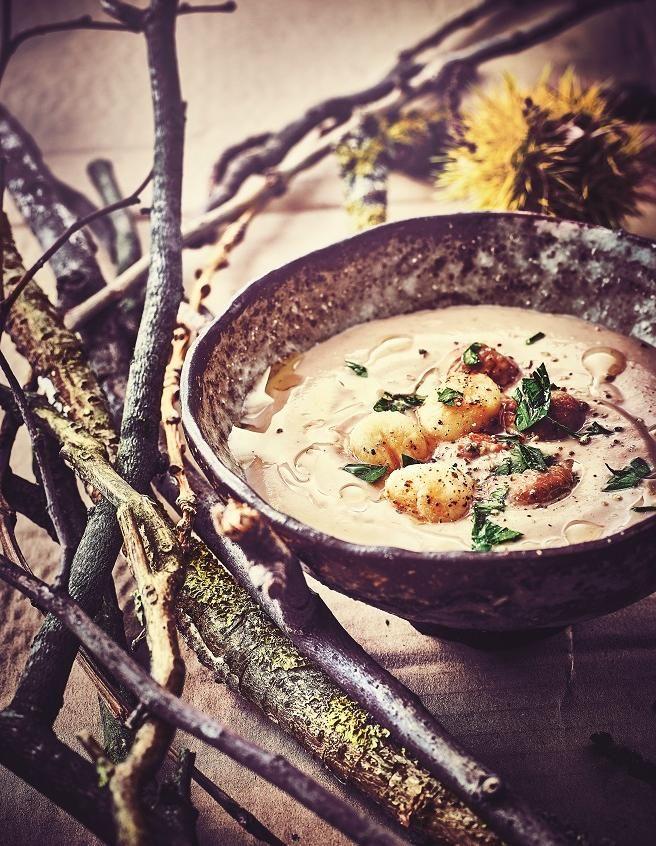Menu gastronomique : Velouté de châtaigne aux saint-jacques - 10 idées de menus de fête - Elle