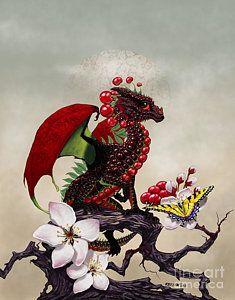 Print featuring the digital art Cherry Dragon by Stanley Morrison
