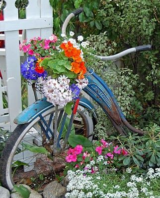 Blue bike garden art.