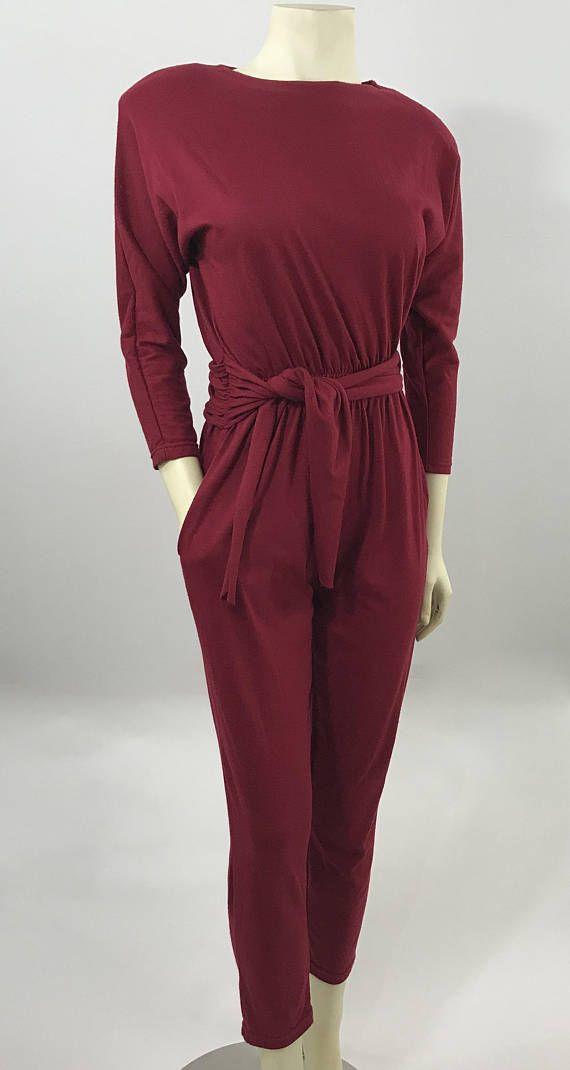 a408881a0e33 Vintage 80 s Red Knit Jumpsuit Jumper Pantsuit