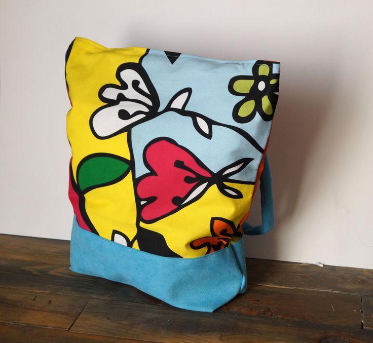 Shopping Bag Shoulder Bag Purse Tote Market bag Blue cotton Simple Bag art print summer tote beach bag colorful cotton fabric bag totes by Malikdesign on Etsy