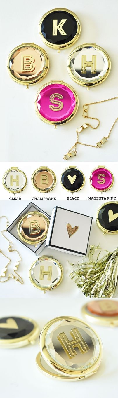 Event Blossom Gold Monogram Compact Mirror with Gift-Box (4 Colors)