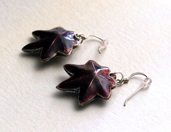 Chocolate Cloisonne Maple Leaf Sterling by AriadnesCreations