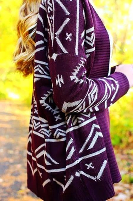 Aztec Plum Tribal Cardigan