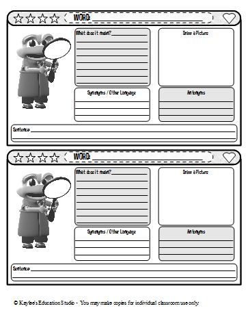 105 best images about vocabulary on pinterest student for Marzano vocabulary template